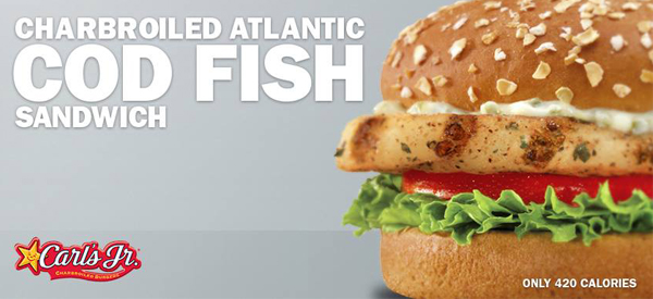 Charbroiled atlantic cod fish sandwich return to carl 39 s jr for Fish sandwich calories