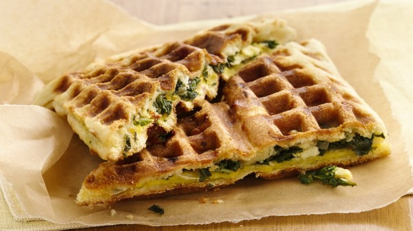 Feta Kale Stuffed Breakfast Waffles
