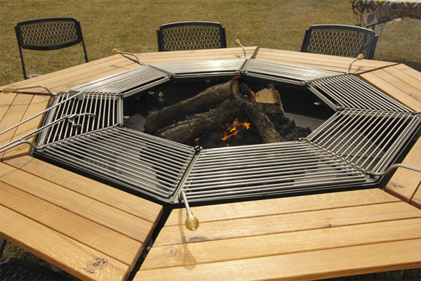 A Grill Slash Fire Pit Slash Outdoor Wooden Table, The JAG Boasts Eight  Individual Grilling ...