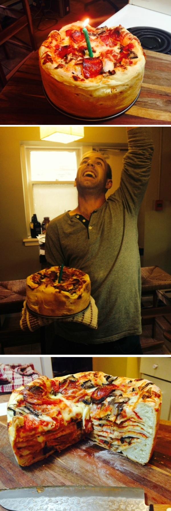 Best girlfriend ever makes boyfriend a Birthday Pizza Cake