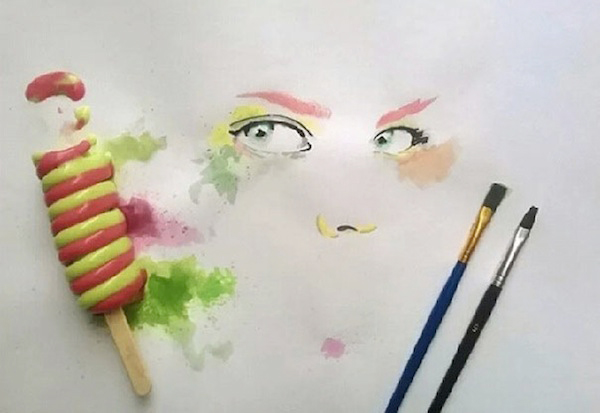 This Skillful Artist Paints with Melted Ice Cream and Popsicles