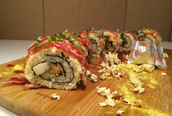 jiro ramen recipe Sriracha Also Covered Bacon Ramen Sushi Rolls These Wrapped Are in