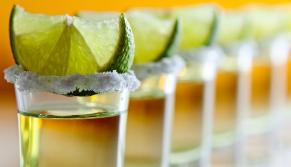 tequila , lime and salt , macro shot , focus on foreground