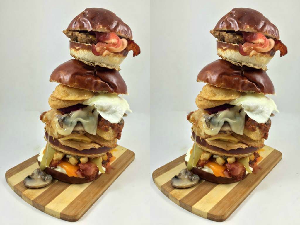 The Nerd Lunch Burger Has a Burger on Top of a Burger