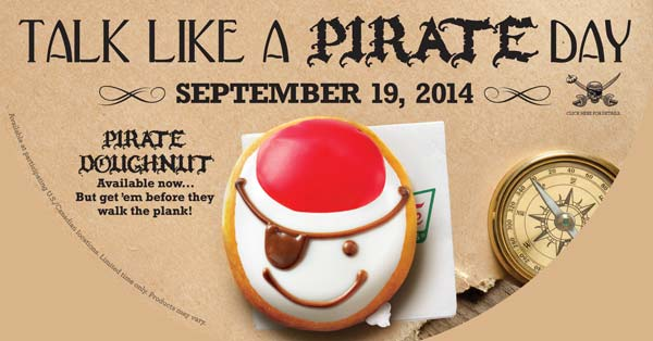 Talk Like a Pirate Day - pirate doughnut from Krispy Creme