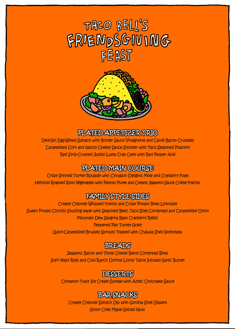 This Fancy Friendsgiving Menu Includes Taco Bell in Every ...