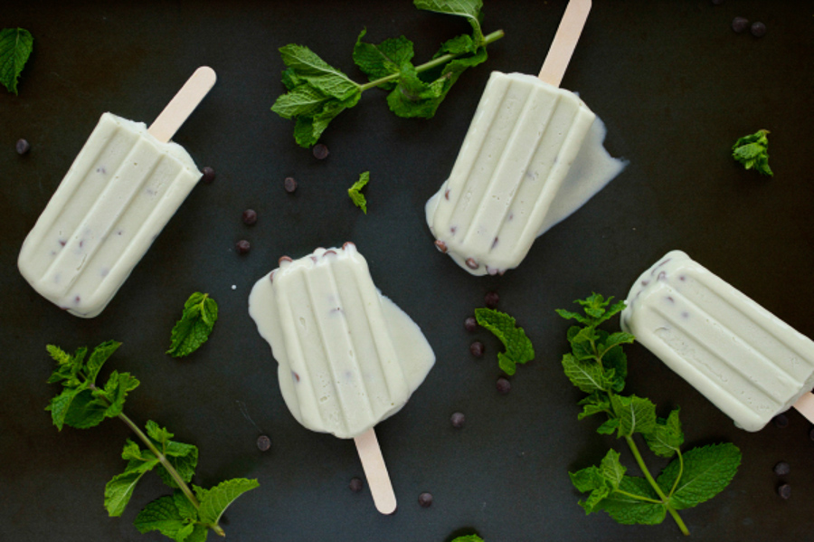 Mint Chocolate Chip Popsicles-