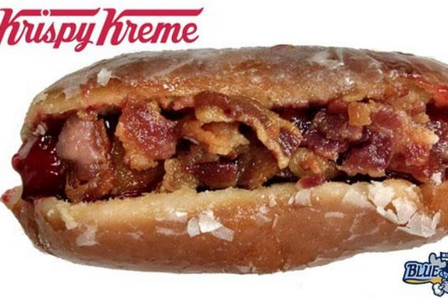 This Ridiculous Hot Dog Has A Krispy Kreme Bun and Is Covered In Bacon