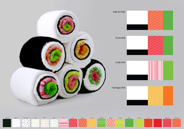 These Towels Roll up into Gigantic Pieces of Sushi