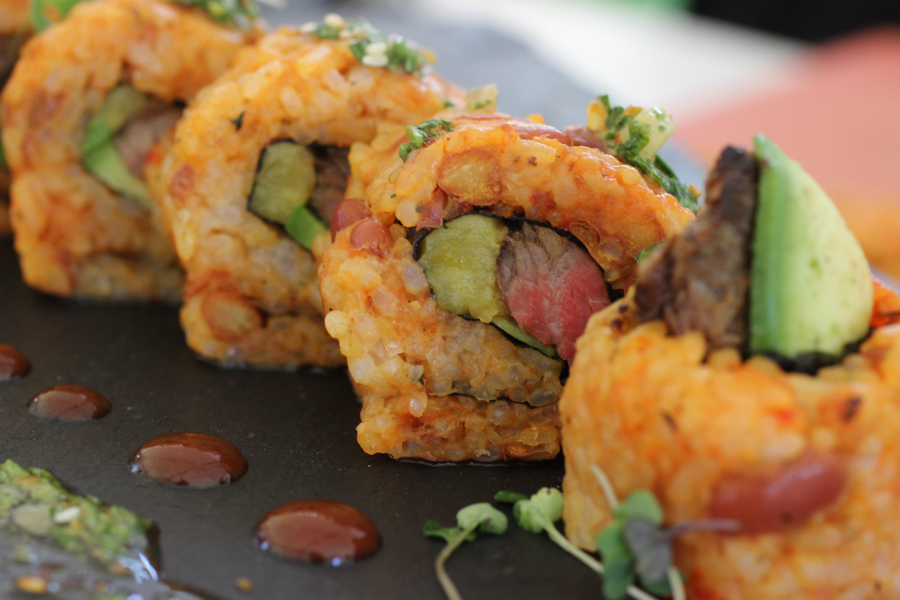 Puerto Rican Fried Rice Mamaposteao Rare Steak Sushi Roll