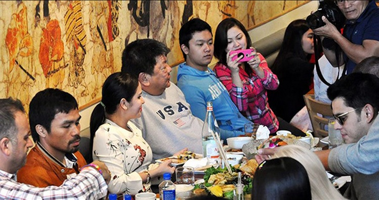 Manny Pacquiao Treats Family To $4,200 Pre-Fight Sushi Lunch In Hollywood