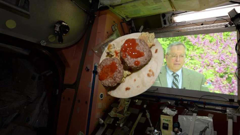 Astronaut Celebrates Cinco De Mayo With Floating Space Tacos
