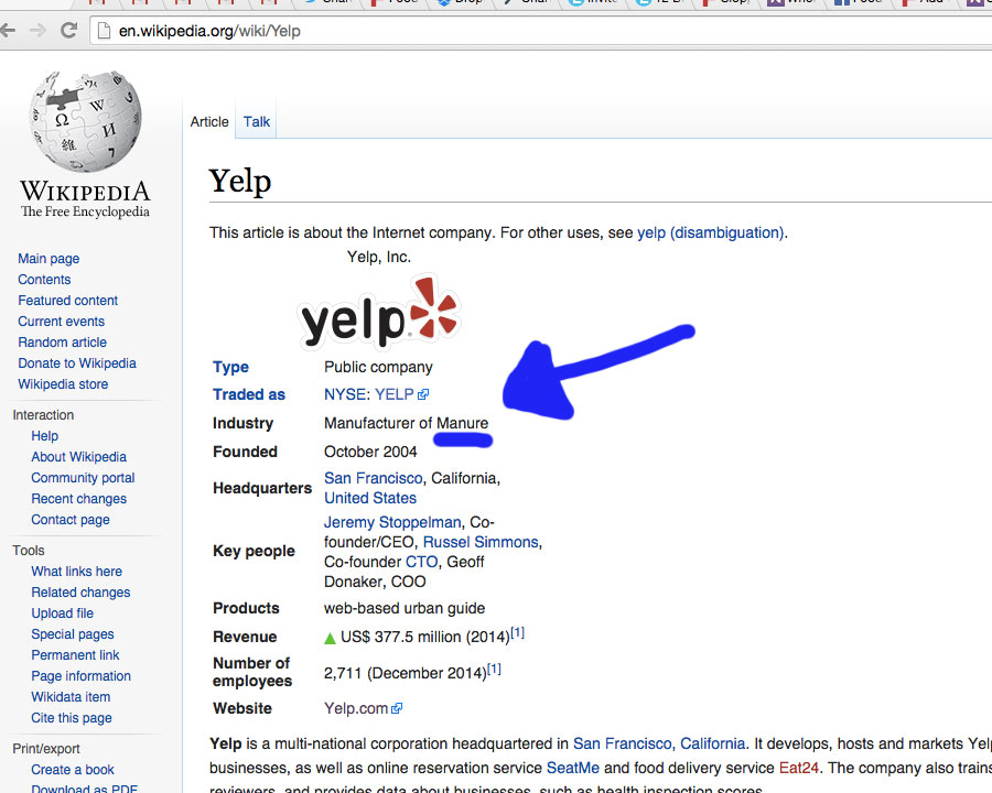 Someone Hacked Yelp's Wikipedia Page, Here's The Witty Shit They Left