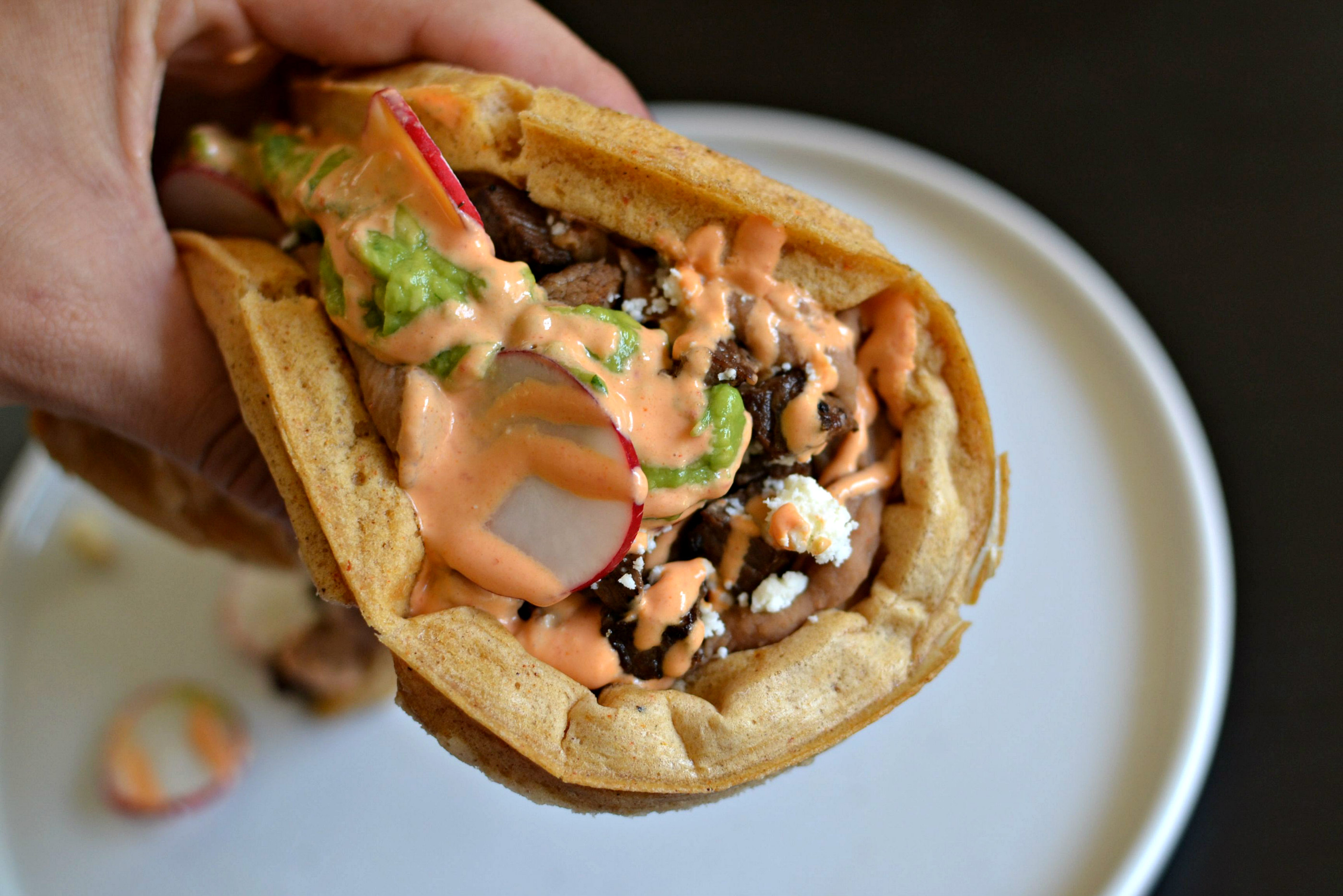 Here's How To Make A Mexican Beer Waffle Topped With Marinated Carne Asada