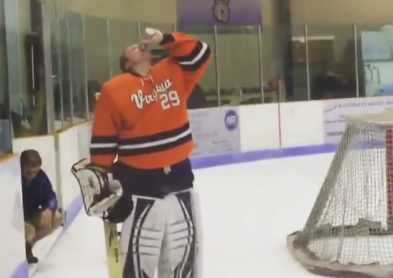 [WATCH] Hockey Goalie Ejected For Chugging A Beer Mid-Game