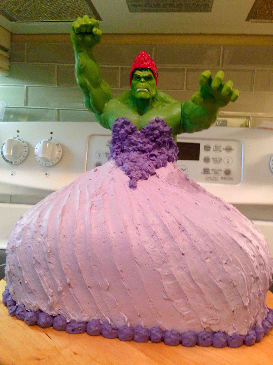 Adorable Little Girls Wanted A 'Hulk Princess' Birthday Cake, Boy Did They Get It