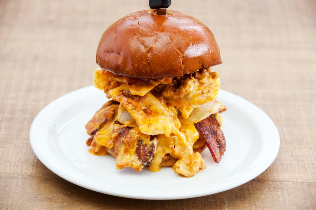 This Boozy Burger Is Loaded With Guinness Bacon Chili And Racer 5 Beer Cheese