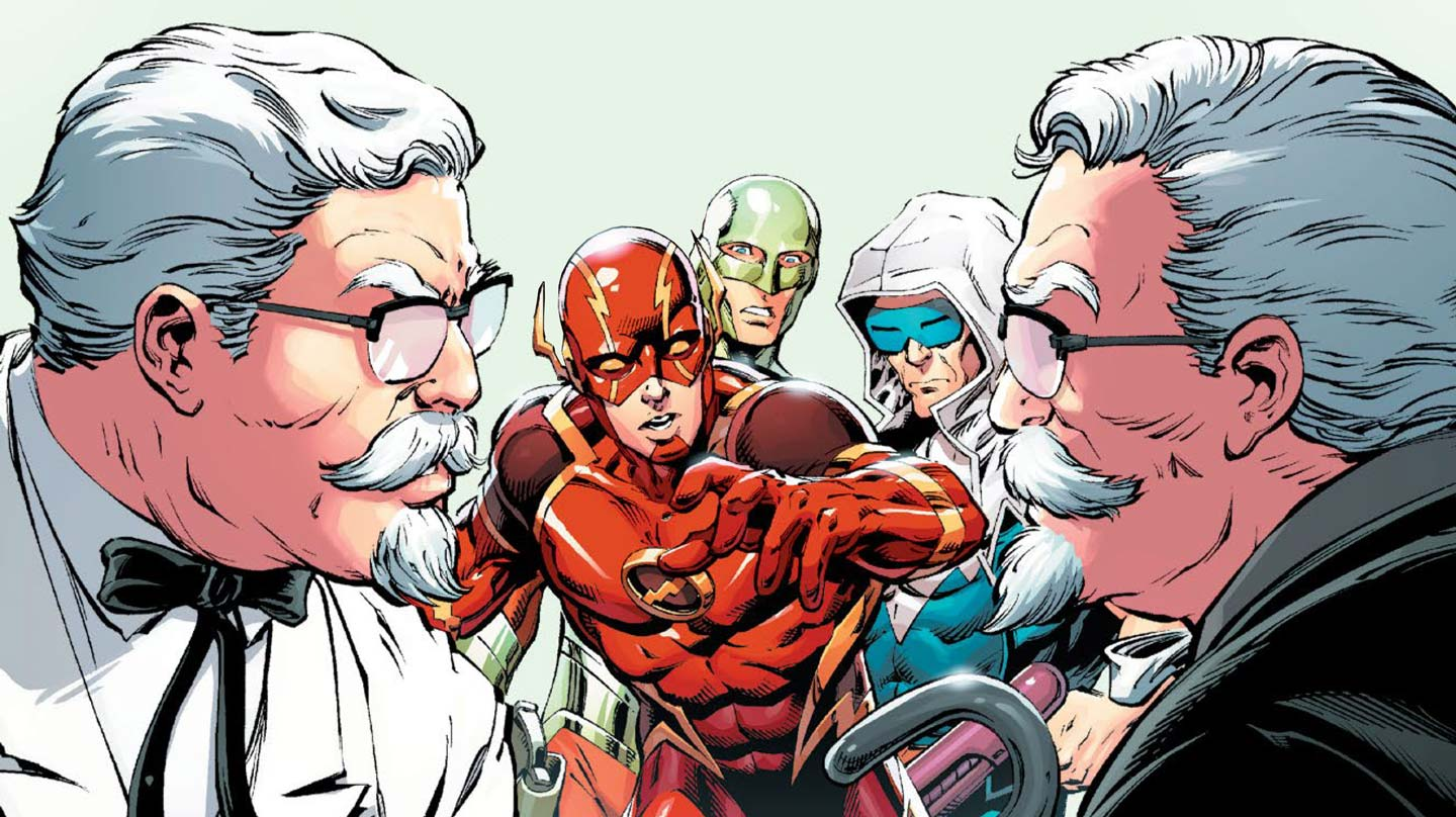 The Weirdest Comic Book Of All Time Features The Flash, Green Lantern...and KFC's Colonel Sanders