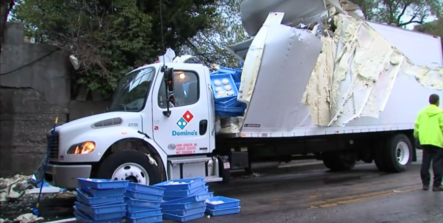 A Doughy Collision Blew The Roof Off This Domino's Truck