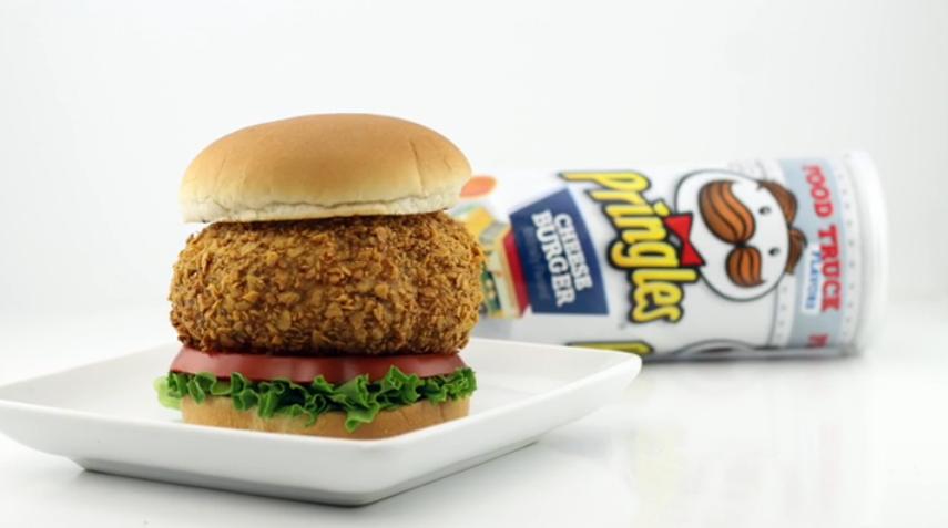 This Deep Fried Cheeseburger Pringles Breaded Burger Ftw