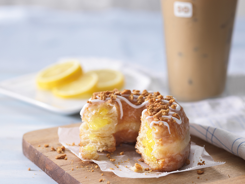 Lemon Croissant Donut with Iced Coffee Horizontal Lifestyle (1)