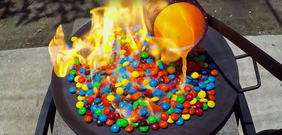 This Is What Happens To M&M's When Exposed To Molten Copper