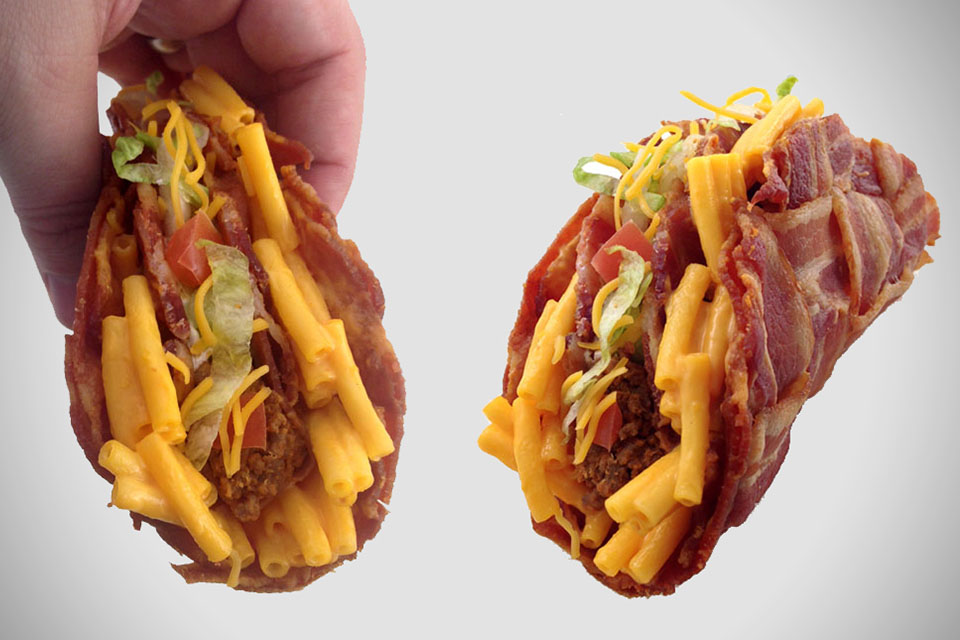 bacon-taco-shell-with-ground-beef-plus-mac-and-cheese-definately-foodporn-status