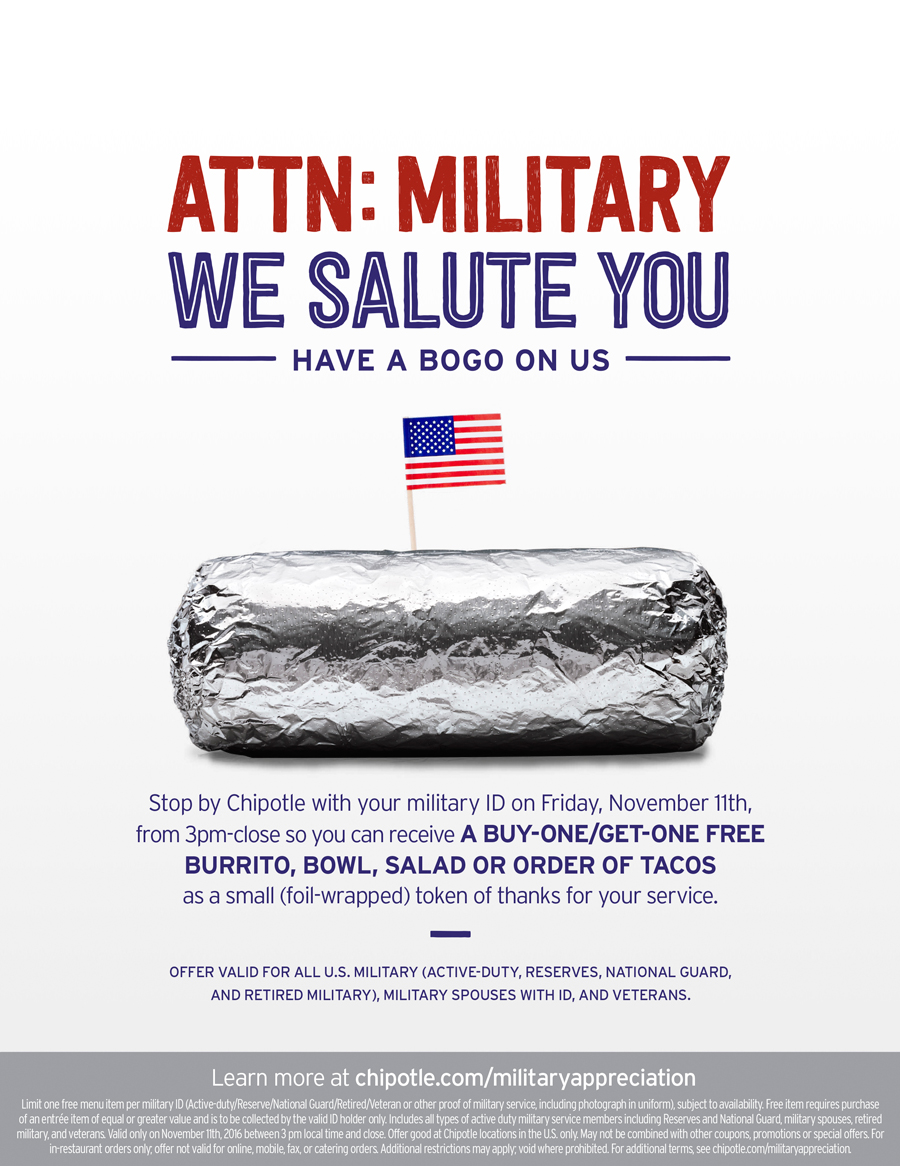Chipotle Free Food Veterans Day
