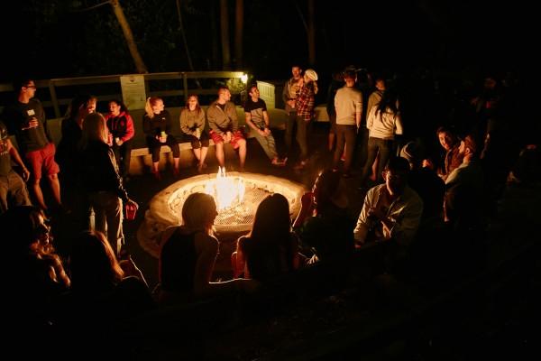 The fire (of future friendship) burns bright. Also real fire too. Real fire burns bright as hell.