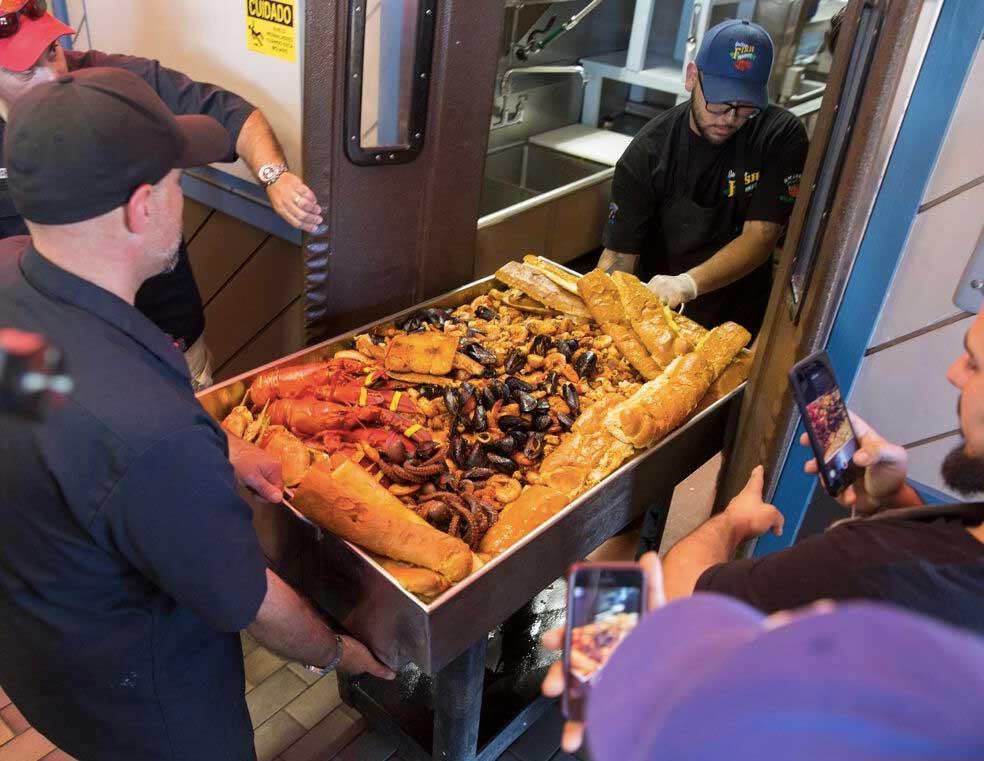 Meet The Super Tray XXXL: San Pedro Fish Market's MASSIVE 100-Pound Seafood Mountain