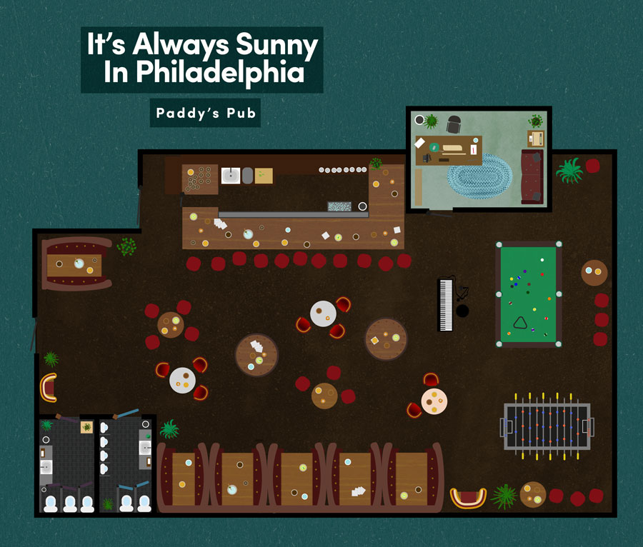 famous fictional restaurant floor plans from television and film