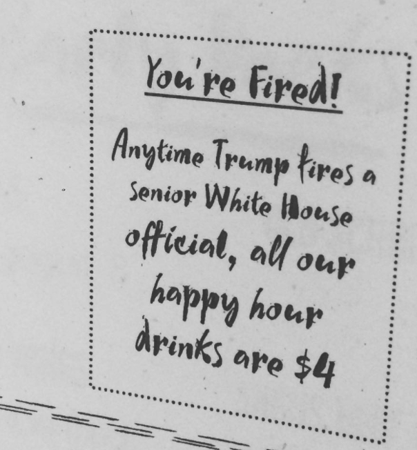 youre fired happy hour