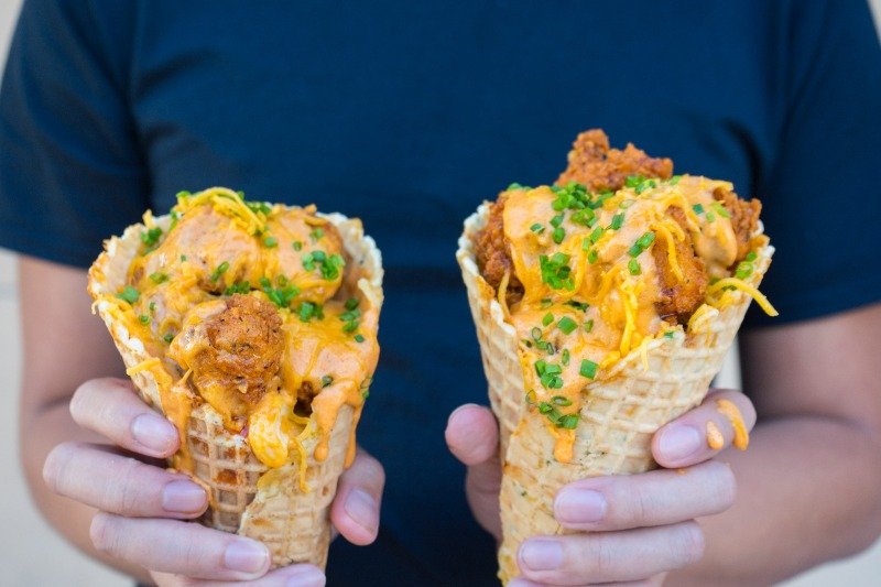 This Cheesy Chicken Stuffed Waffle Cone Is Going To Crush Appetites