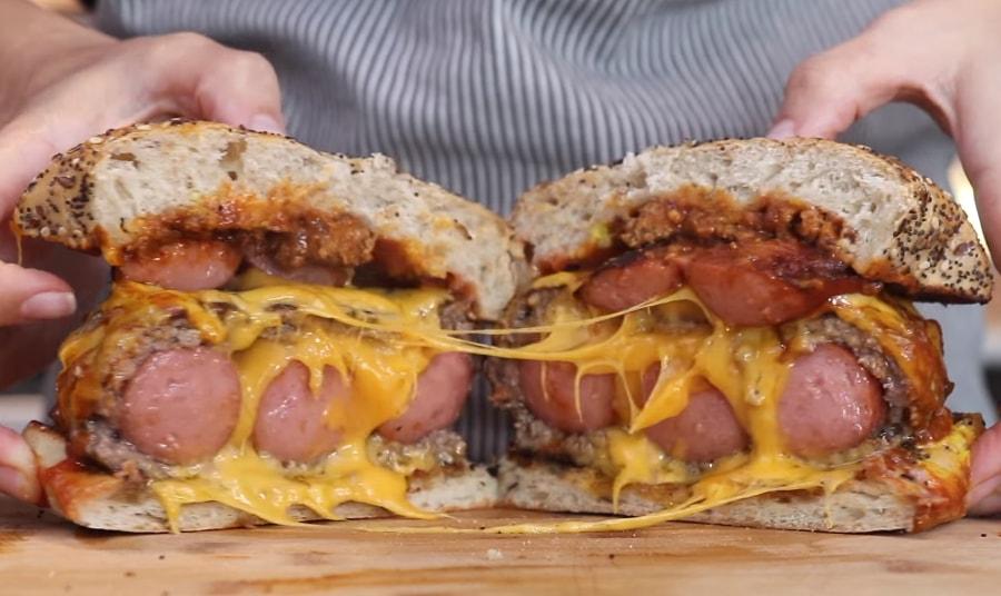 hot dog-stuffed burger