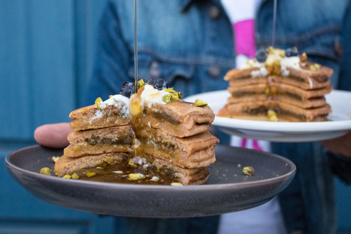 pistachio stuffed pancakes