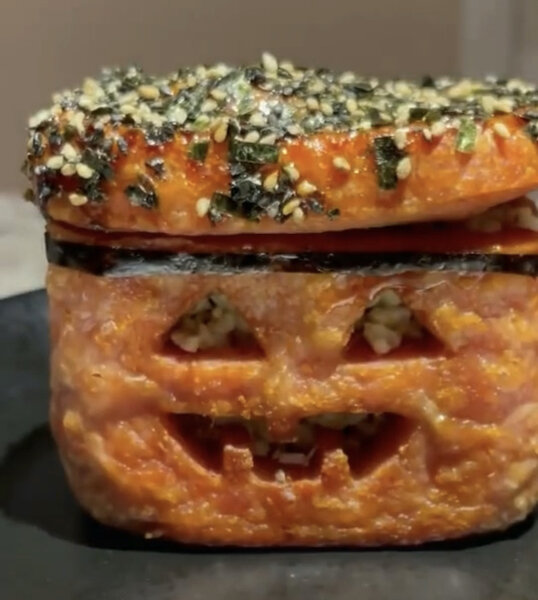 fried spam jack-o-lantern